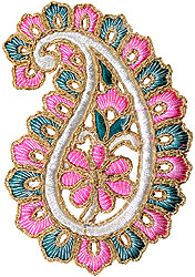 Pink and Green Paisley Patch with Cut-Work