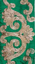 Wide Fabric Border with Metallic Threadwork
