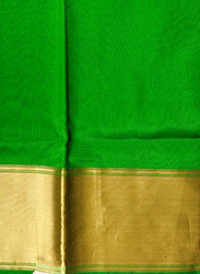 Vibrant-Green Plain Banarasi Fabric with Woven Golden Zari Border