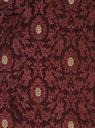 Chocolate-Truffle Fabric from Banaras with Self Weave and Chinese Good Luck Symbols