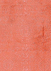 Fabric from Banaras with Woven Tibetan Symbols in Self-Colored Thread