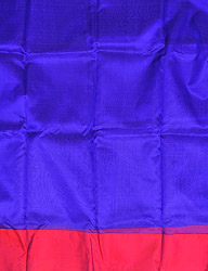 Deep-Blue and Red Plain Organza Kurti Fabric from Banaras with Solid Border