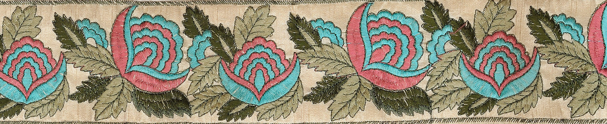 Purchment fabric border with ari embroidered flowers and