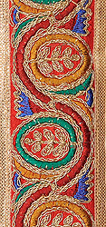 Tomato Fabric Border Embroidered with Golden Wires