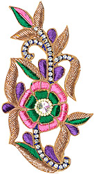 Multi-Color Floral Patch with Zardori Embroidery