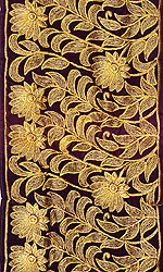 Imperial-Purple Wide Fabric Border with Golden Ari Embroidery