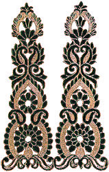 Pair of Green Floral Patches with Metallic Threadwork