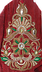 Rosewood Zardozi Floral Patch for Kurti with Stone-work