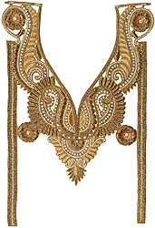 Golden Zardozi Paisleys Neck and Sleeves Patch with Cut-work