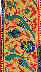 Golden Zari Wide Fabric Border from Banaras with Hand-woven Parrots