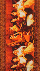 Raja Ravi Varma Fabric Border with Digital-Printed Women Musicians