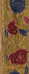 Dune-Green Fabric Border with Parsi Embroidered Roses