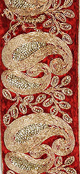 Chili-Pepper Velvet Fabric Border with Embroidred Paisleys and Sequins