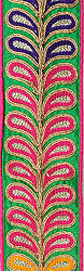 Island-Green Fabric Border with Embroidred Leaves