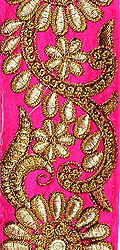 Fuchsia-Purple Fabric Border with Floral Zari Embroidery All-Over