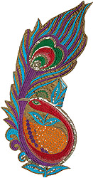 Multicolor Embroidered Large Peacock Patch with Sequins