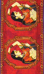 Claret-Red Fabric Border with Digital-Printed Women Applying Vermilion