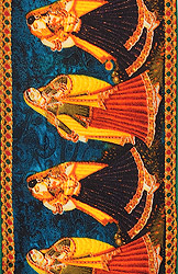 Mosaic-Blue Fabric Border with Digital-Printed Dancing Women