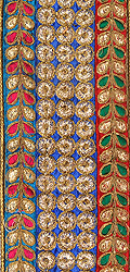 Tri-color Embroidered Wide Fabric Border with Metallic Threadwork