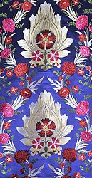 Skipper-Blue Tibetan Brocade Fabric from Banaras with Hand Woven Roses All-Over