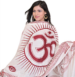 Beige Sanatana Dhrama Prayer Shawl with Large Printed Om