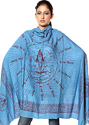 Azure-Blue Meditating Shiva Prayer Shawl