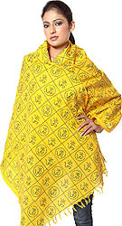 Yellow Hindu Prayer Shawl with Printed Oms All-Over