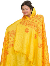 Cyber-Yellow Printed Durga Ma Prayer Shawl