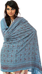 Blue Hindu Prayer Shawl with Printed Om
