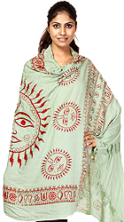 Green Sanatana Dharma Prayer Shawl with Large Printed Surya (Sun) Godl