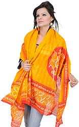 Saffron Prayer Shawl with Printed Om Shri Ganeshai Namah Mantra