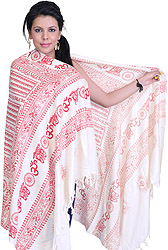 Ivory Hindu Prayer Shawl with Printed Sri Ram Jai Ram Jai Jai Ram Mantra
