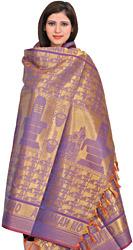 Golden-Violet (OM NAMASHIVAYA) Brocaded Shawl from Tamil Nadu with Woven Shiva Linga and Nandi