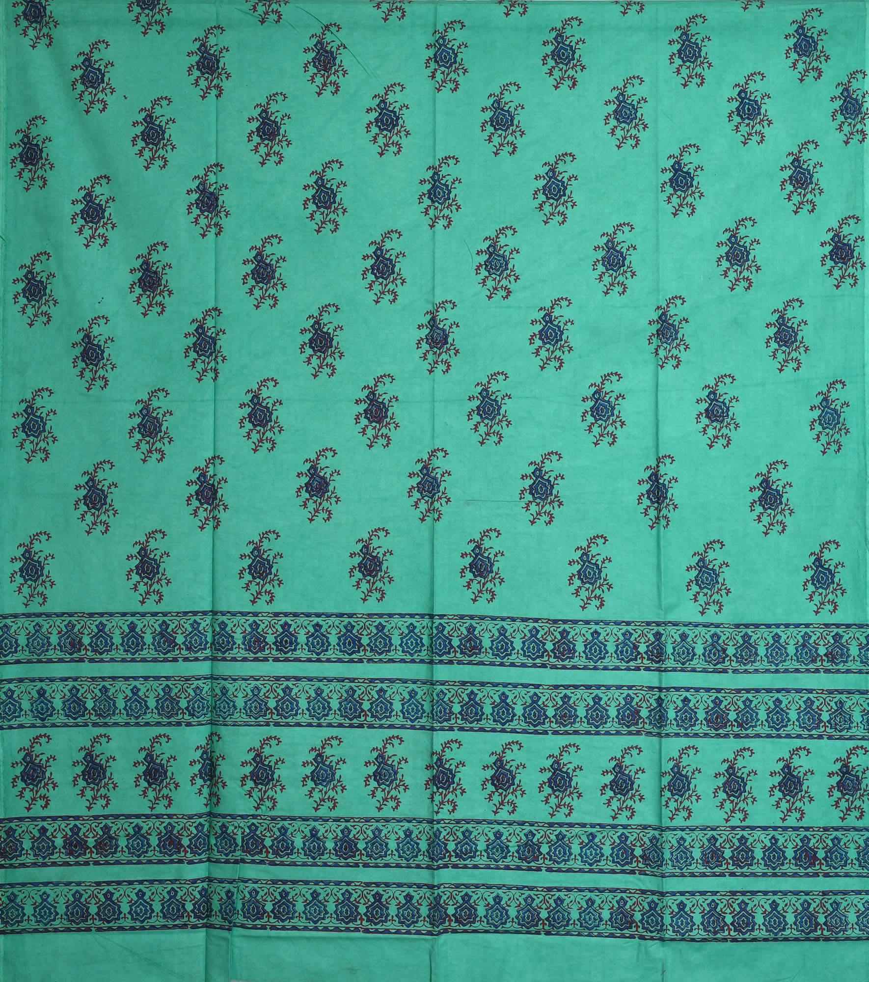 Turquoise Green Curtain With Printed Floral Motifs