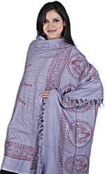 Steel-blue Om Namah Shivai Prayer Shawl of Lord Shiva