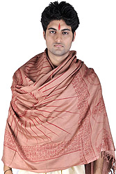 Taupe Hindu Prayer Shawl of Lord Vishnu the Preserver