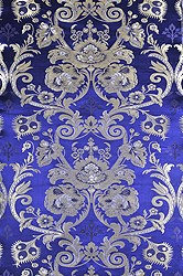 Wisteria-Blue Tibetan Lotus Brocade Fabric from Banaras