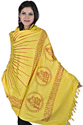 Yellow Auspicious Prayer Shawl of Lord Ganesha