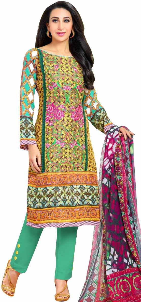 Yellow and green parallel salwar suit with floral print