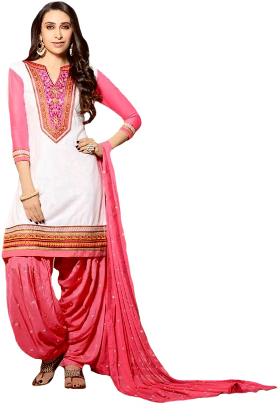 White and pink karishma patiala salwar kameez suit with