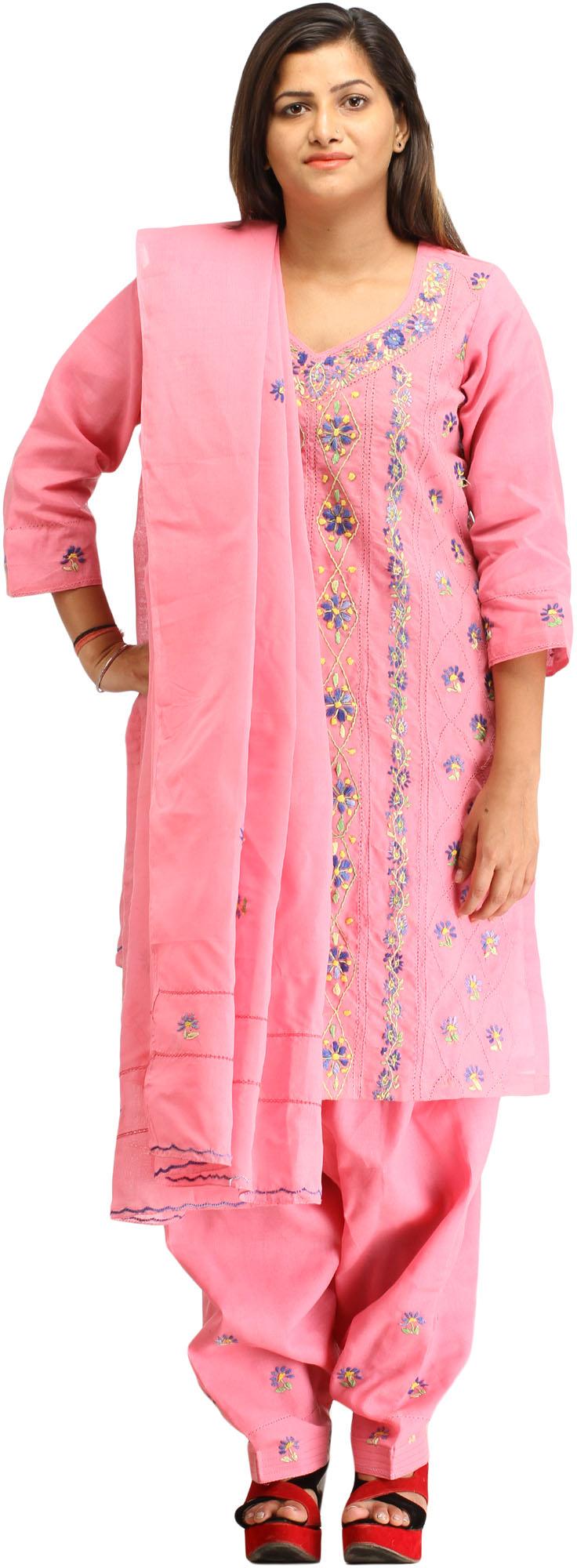 Sachet pink kantha hand embroidered salwar kameez suit
