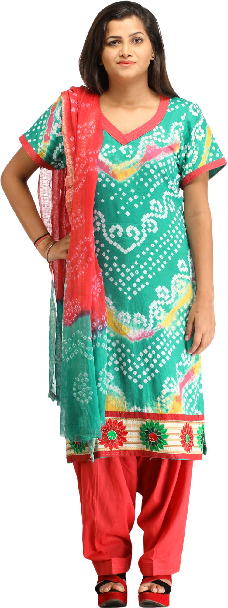 Green and red bandhani tie dye salwar kameez suit from