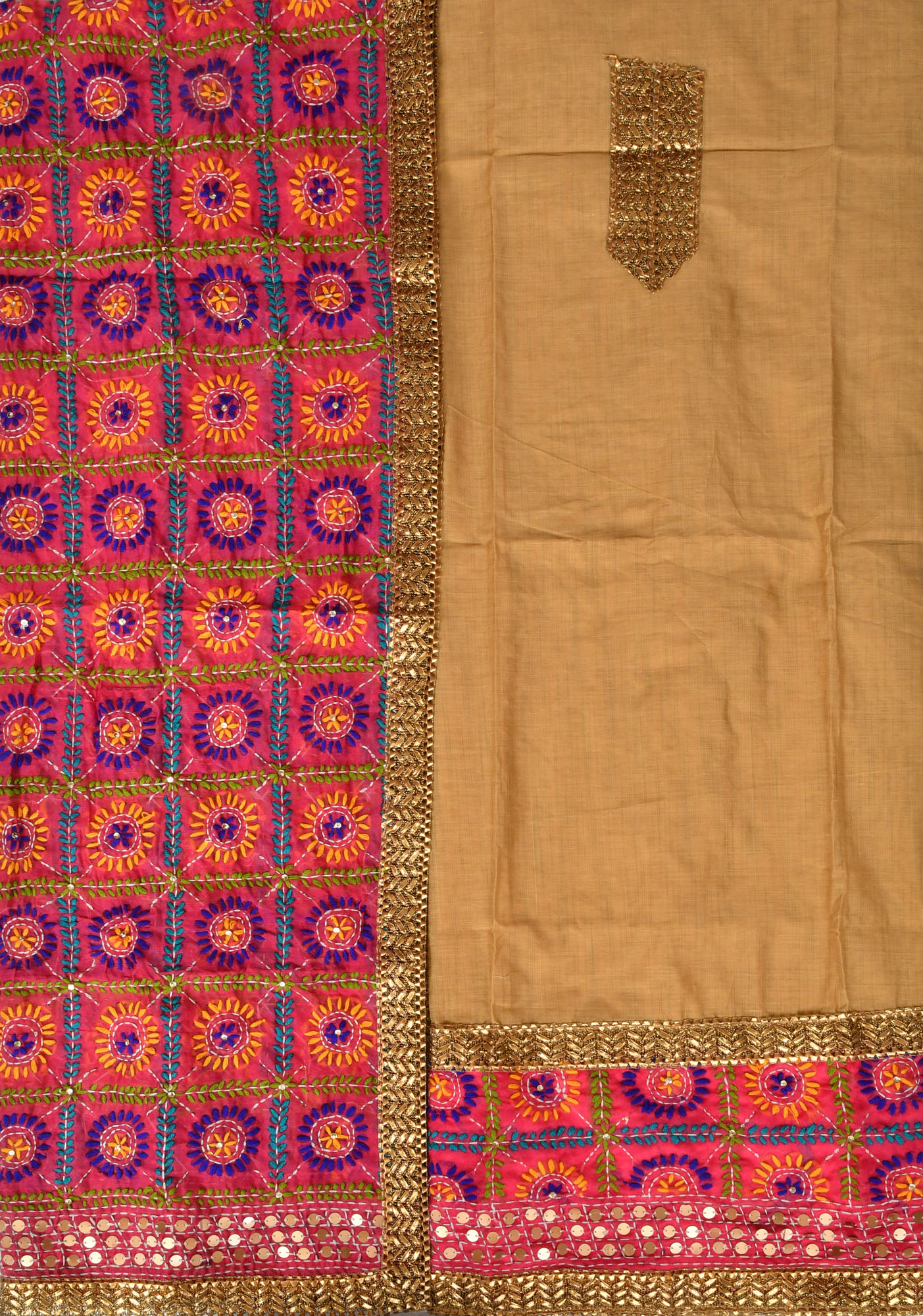 Phulkari salwar kameez fabric from punjab with hand