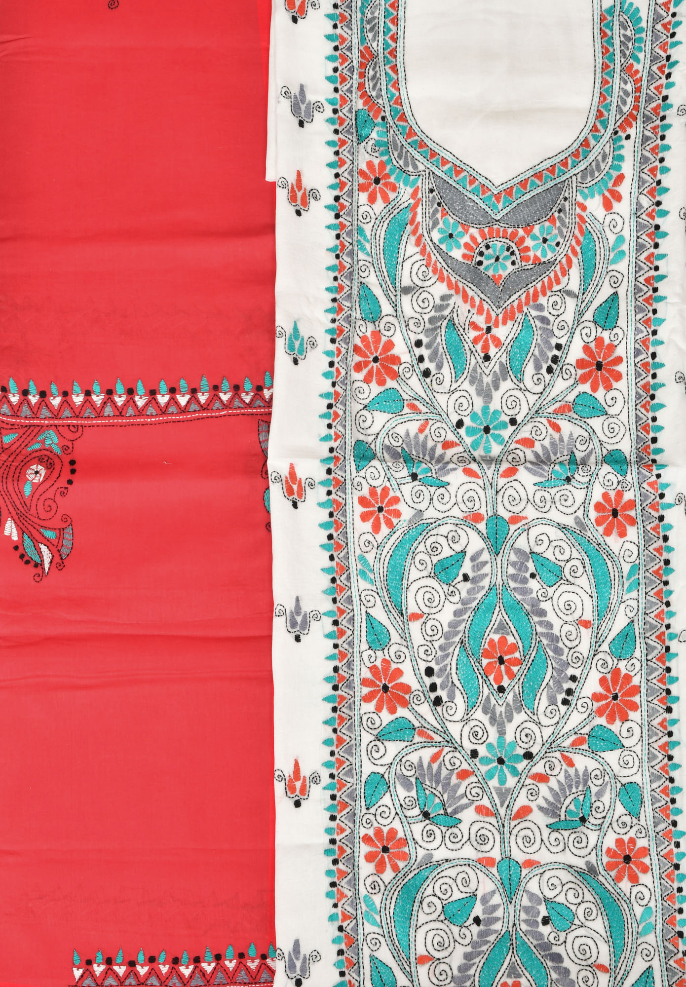 White and red salwar kameez fabric from kolkata with