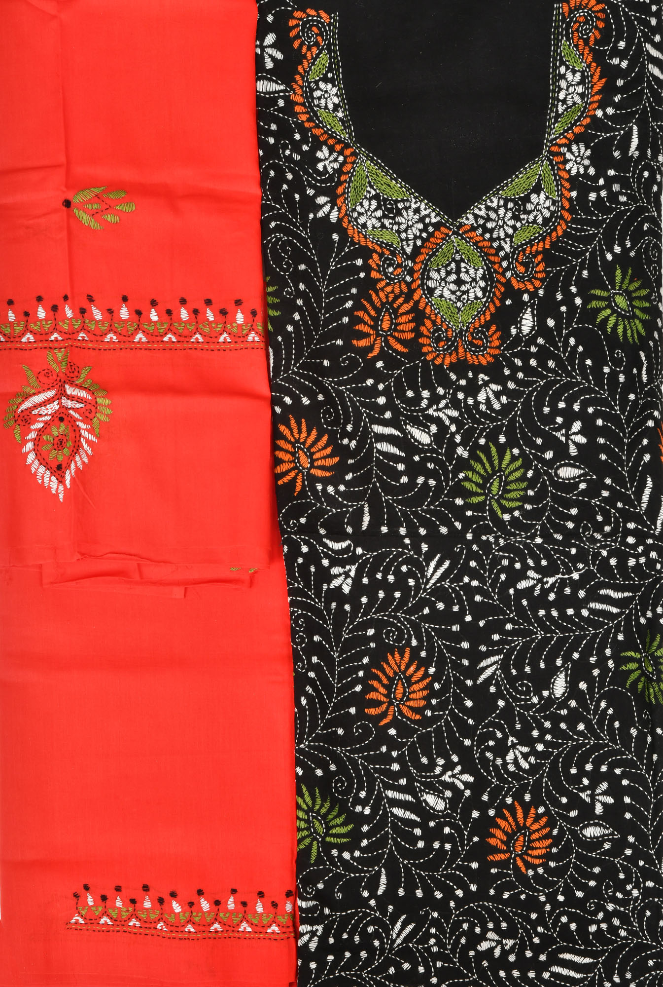 Black and red salwar kameez fabric from kolkata with