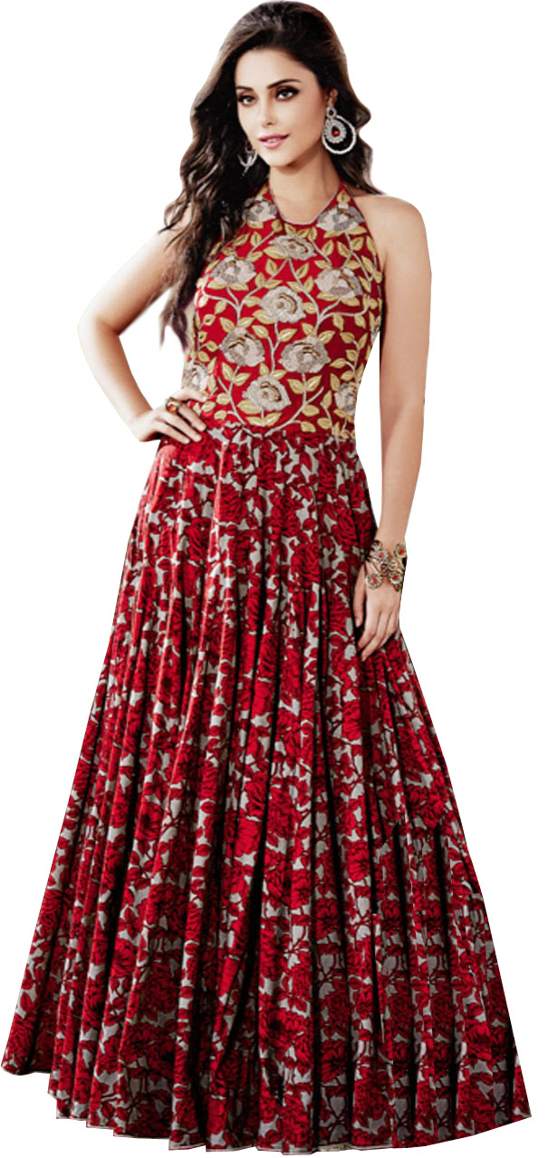 Rococco red floral printed wedding floor length dress with