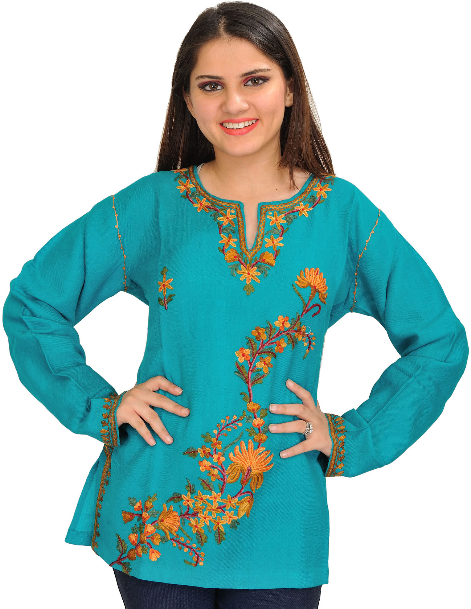 Peacock blue ari hand embroidered kurti from kashmir