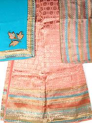 Salmon Banarasi Bridal Lehenga Choli with Brocade Weave