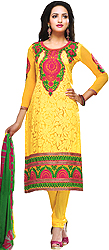 Aspen-Gold Choodidaar Kameez Suit with Embroidered Flowers on Neck and Border