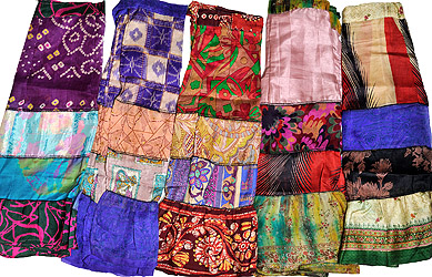 Assorted Lot of Five Multi-Colored Vintage Sari Skirts with Patchwork and Mirrors